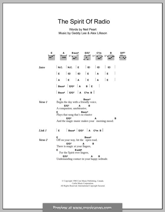 Spirit of Radio (Rush): Lyrics and chords by Alex Lifeson, Geddy Lee
