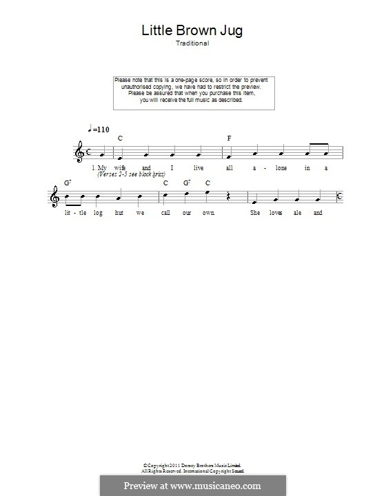 Little Brown Jug: Melody line, lyrics and chords by folklore