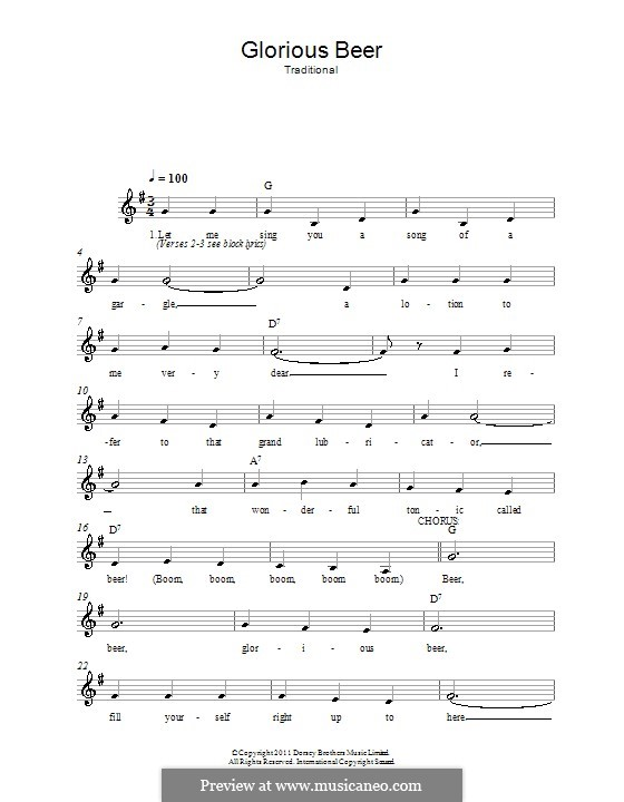 Glorious Beer by folklore - sheet music on MusicaNeo