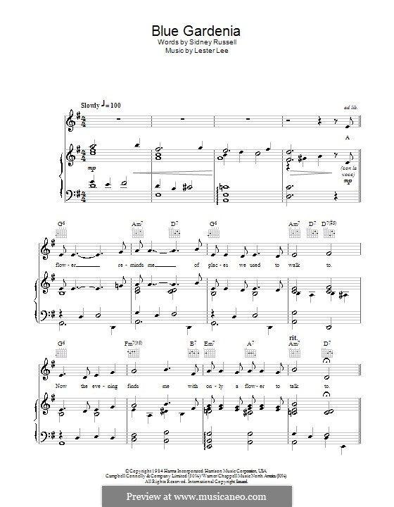 Blue Gardenia (Nat 'King' Cole): For voice and piano (or guitar) by Lester Lee