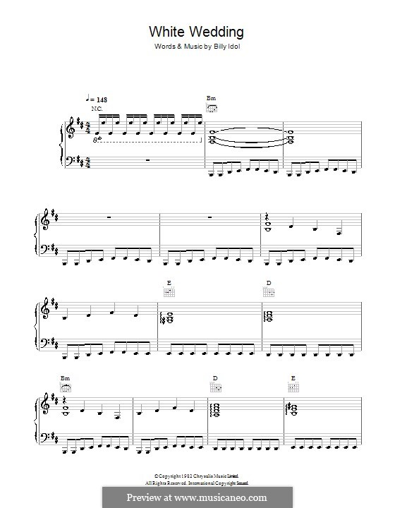 White Wedding For Voice And Piano Or Guitar By Billy Idol