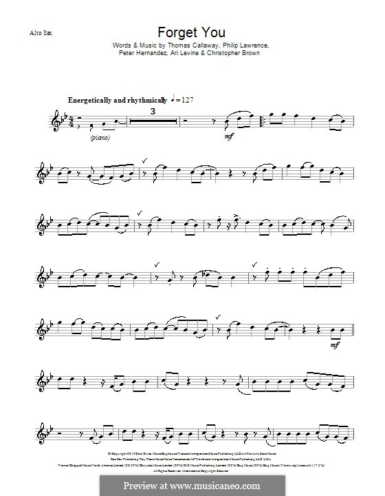 F**k You (Forget You): For alto saxophone by Ari Levine, Christopher Brown, Bruno Mars, Philip Lawrence, Thomas Callaway