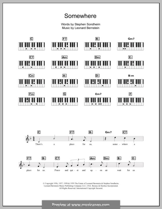 Somewhere (from West Side Story): For keyboard by Leonard Bernstein