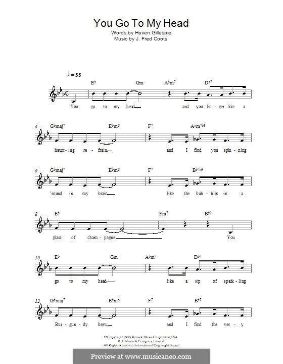 You Go To My Head (Frank Sinatra): Melody line, lyrics and chords by J. Fred Coots