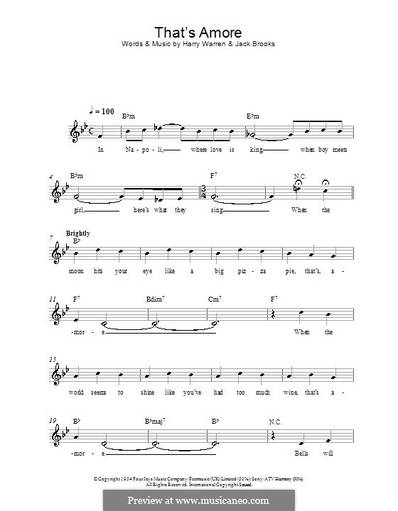 That's Amore (That's Love): Melody line, lyrics and chords by Harry Warren