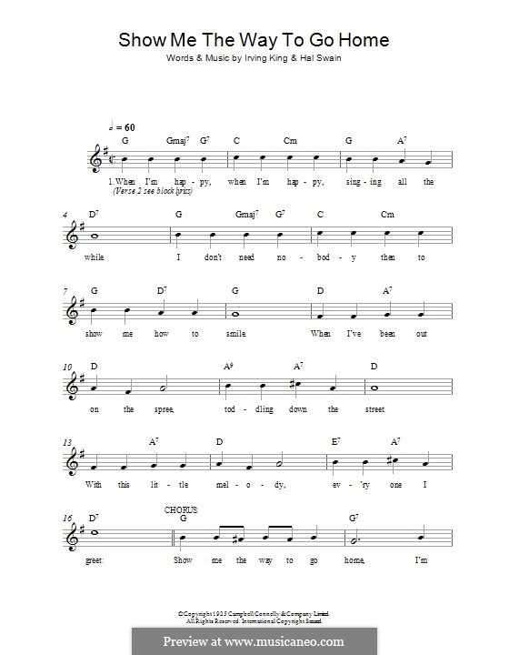 Show Me the Way To Go Home by I. King - sheet music on MusicaNeo