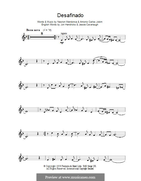 Desafinado (Slightly Out of Tune): For clarinet by Antonio Carlos Jobim