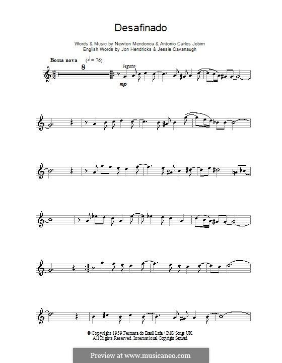 Desafinado (Slightly Out of Tune): For alto saxophone by Antonio Carlos Jobim