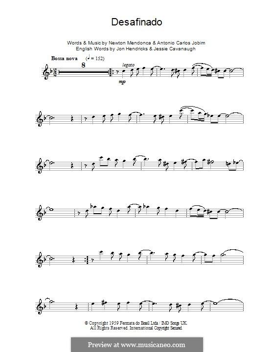 Desafinado (Slightly Out of Tune): For tenor saxophone by Antonio Carlos Jobim