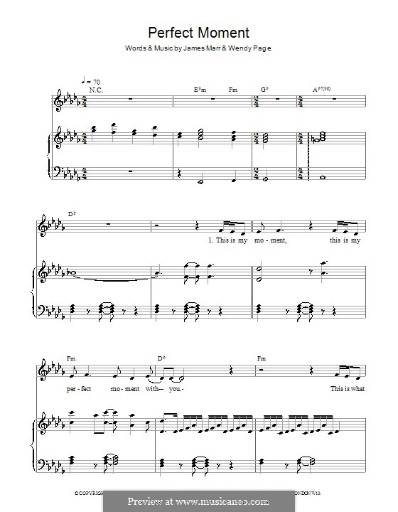 Perfect Moment: For voice and piano by James Marr, Wendy Page