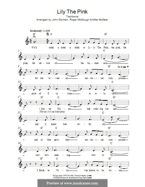 Lily The Pink By Folklore Sheet Music On Musicaneo