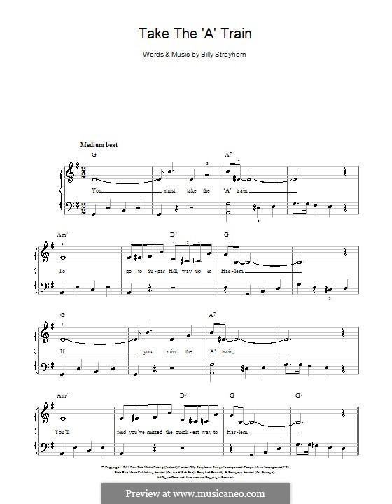 Take the 'A' Train (Duke Ellington): For easy piano by Billy Strayhorn