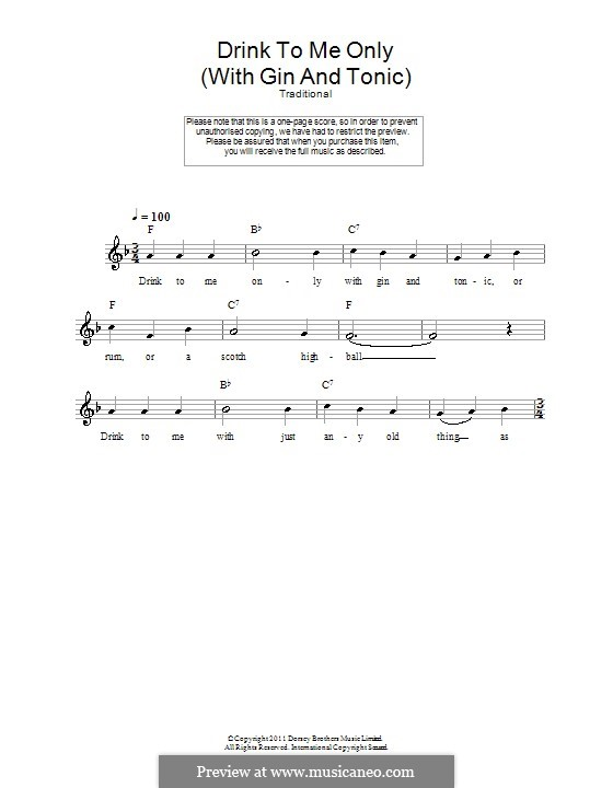 Drink to Me Only with Thine Eyes: Melody line, lyrics and chords by folklore