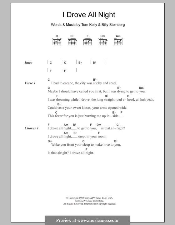 I Drove All Night (Roy Orbison): Lyrics and chords by Billy Steinberg, Tom Kelly