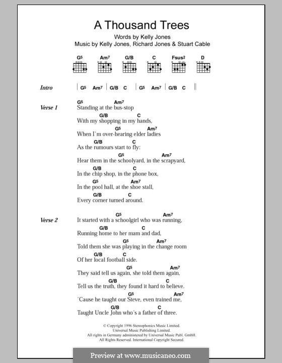 A Thousand Trees (Stereophonics): Lyrics and chords by Kelly Jones, Richard Jones, Stuart Cable