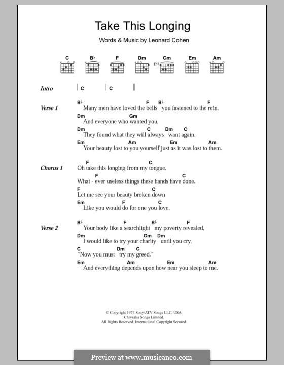 Take This Longing: Lyrics and chords by Leonard Cohen