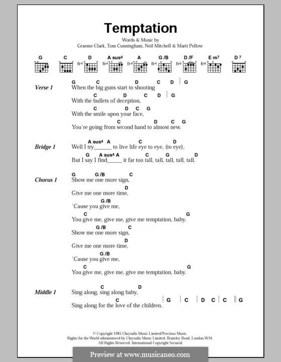 Temptation (Wet Wet Wet): Lyrics and chords by Graeme Clark, Tom Cunningham, Marti Pellow, Neil Mitchell