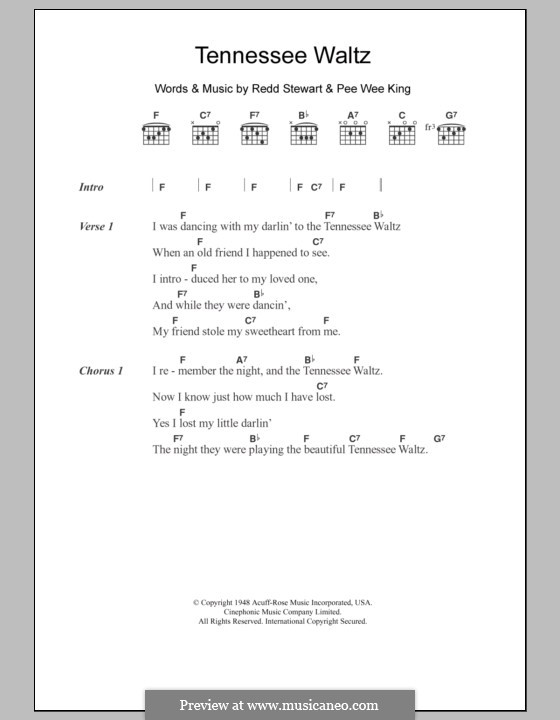 Tennessee Waltz (Patty Page): Lyrics and chords by Pee Wee King, Redd Stewart