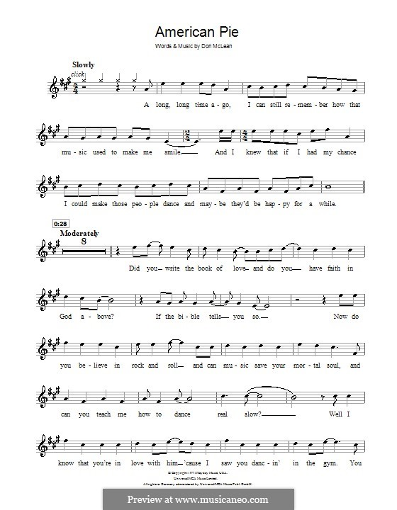 American Pie (Madonna): For clarinet by Don McLean
