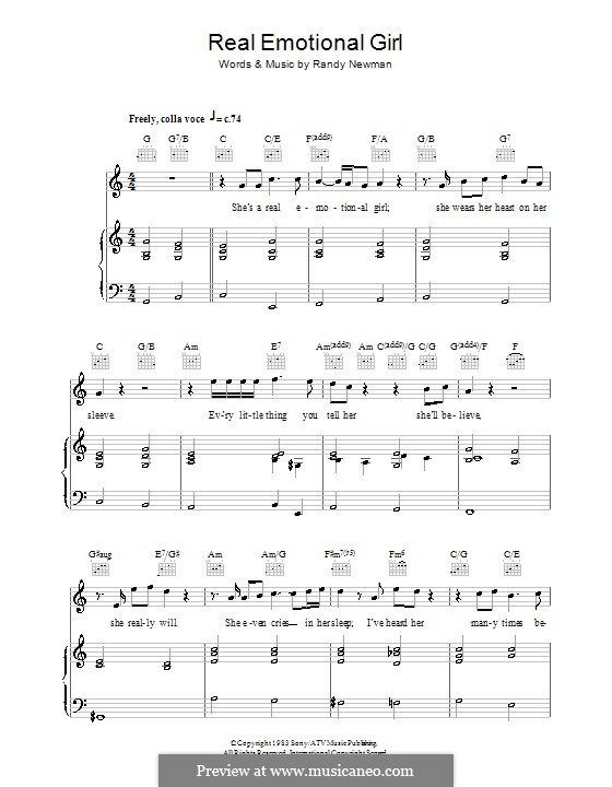 Real Emotional Girl: For voice and piano (or guitar) by Randy Newman