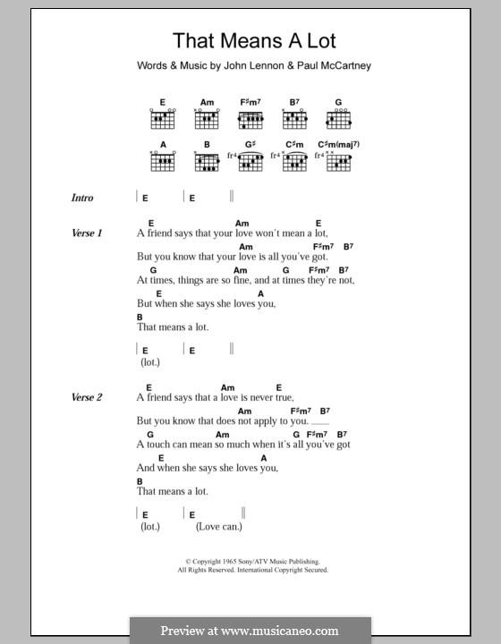 That Means a Lot (The Beatles): Lyrics and chords by John Lennon, Paul McCartney