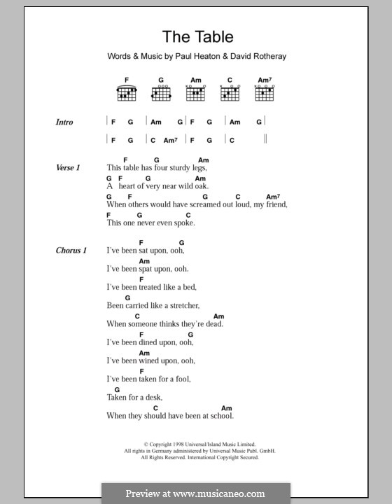 The Table (The Beautiful South): Lyrics and chords by David Rotheray, Paul Heaton