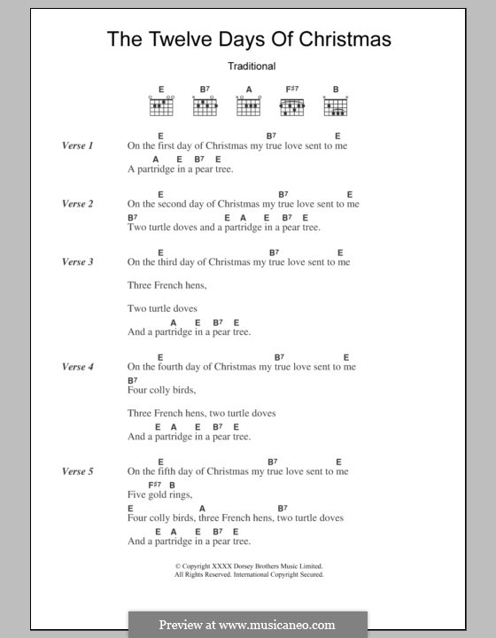 The Twelve Days of Christmas: Lyrics and chords by folklore