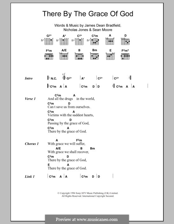 There By the Grace of God (The Manic Street Preachers): Lyrics and chords by James Dean Bradfield, Nicholas Jones, Sean Moore