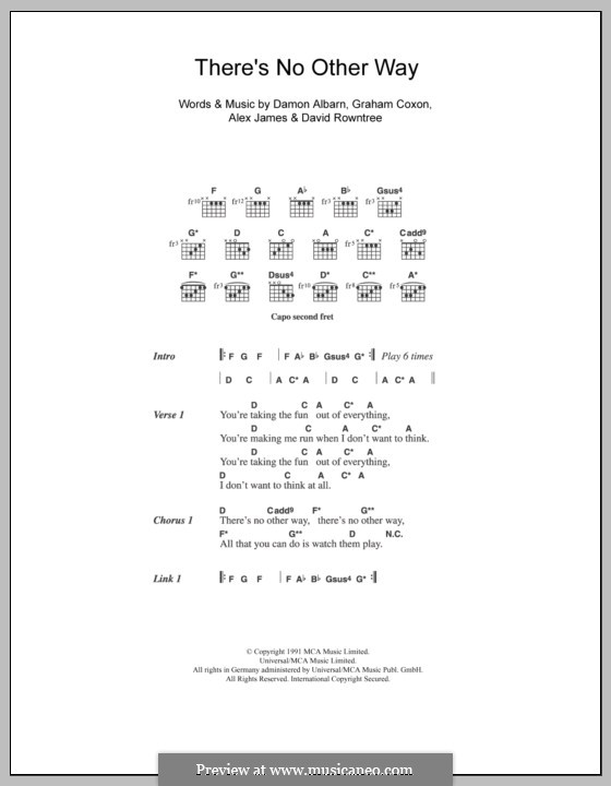 There's No Other Way (Blur): Lyrics and chords by Alex James, Damon Albarn, David Rowntree, Graham Coxon