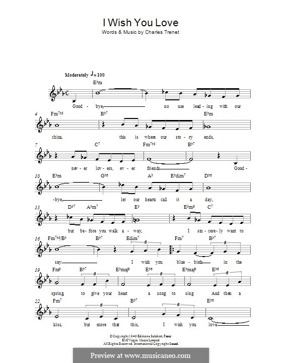 I Wish You Love: Melody line, lyrics and chords by Charles Trenet