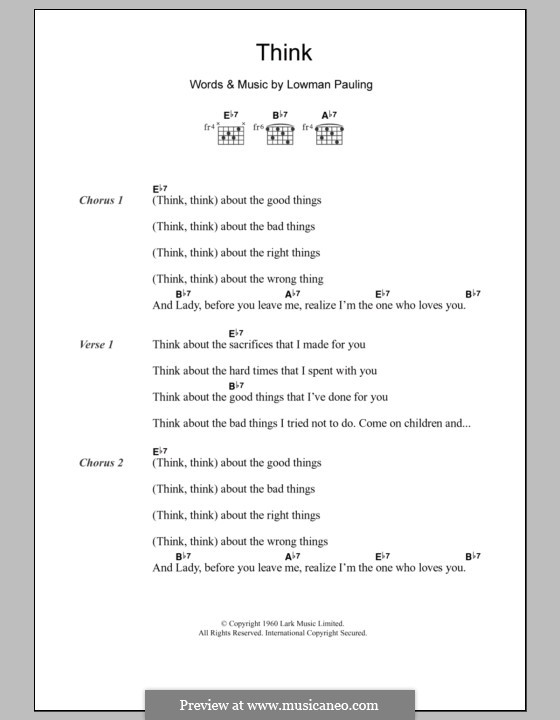 Think: Lyrics and chords by Lowman Pauling