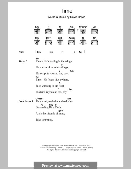 Time: Lyrics and chords by David Bowie