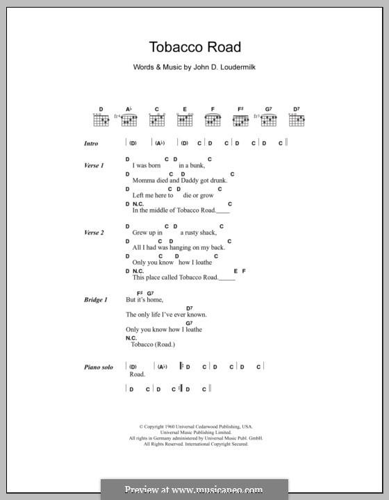 Tobacco Road (The Nashville Teens): Lyrics and chords by John D. Loudermilk