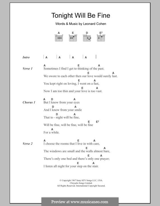 Tonight Will Be Fine: Lyrics and chords by Leonard Cohen