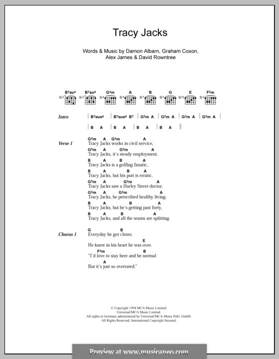 Tracy Jacks (Blur): Lyrics and chords by Alex James, Damon Albarn, David Rowntree, Graham Coxon