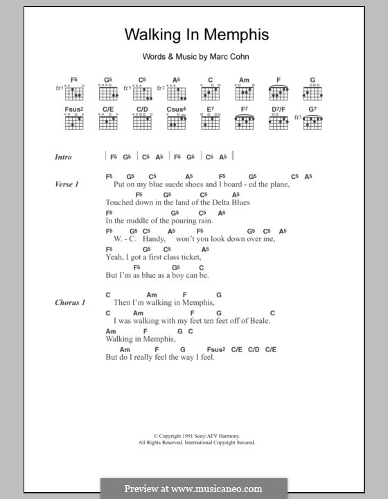 Walking in Memphis by M. Cohn - sheet music on MusicaNeo