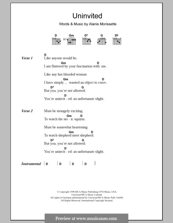 Uninvited: Lyrics and chords by Alanis Morissette