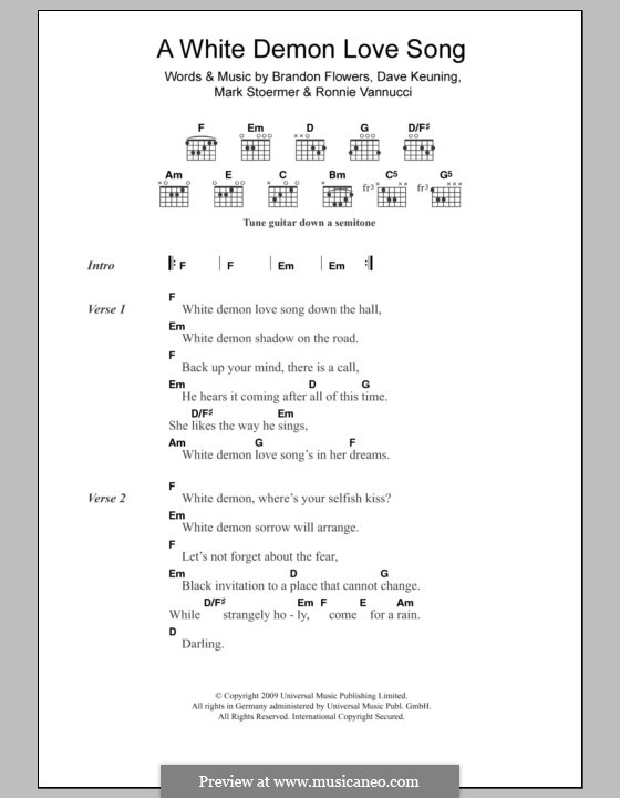 A White Demon Love Song (The Killers): Lyrics and chords by Brandon Flowers, Dave Keuning, Mark Stoermer, Ronnie Vannucci