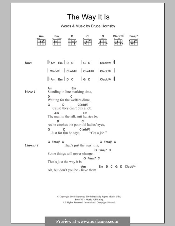 The Way It Is (Bruce Hornsby and The Range): Lyrics and chords by Bruce Hornsby
