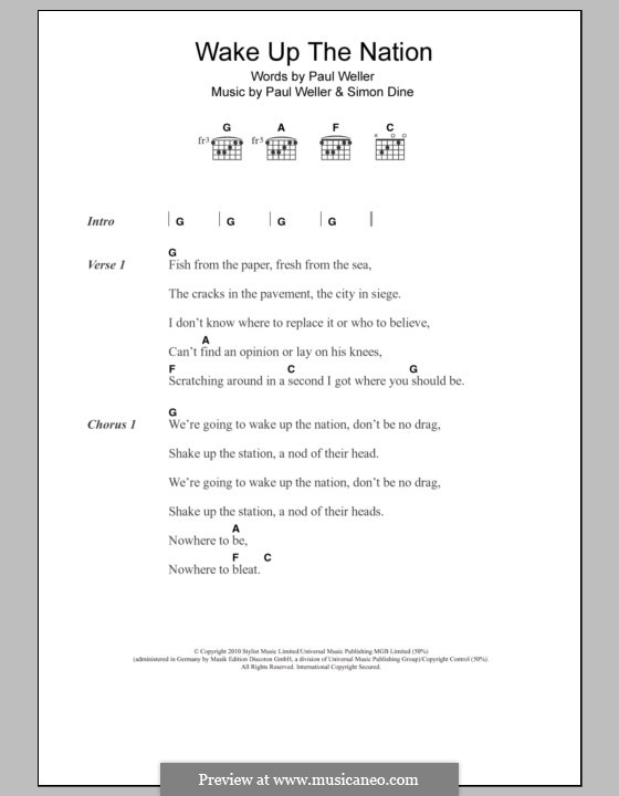 Wake Up the Nation: Lyrics and chords by Paul Weller, Simon Dine
