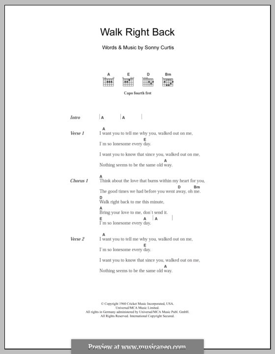 Walk Right Back (The Everly Brothers): Lyrics and chords by Sonny Curtis