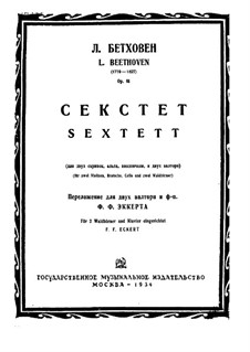 Sextet in E Flat Major, Op.81b: Version for two french horns and piano by Ludwig van Beethoven