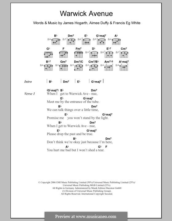 Warwick Avenue (Duffy): Lyrics and chords by Jimmy Hogarth, Aimee Duffy, Eg White