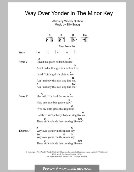 Way Over Yonder in the Minor Key by B. Bragg - sheet music on MusicaNeo