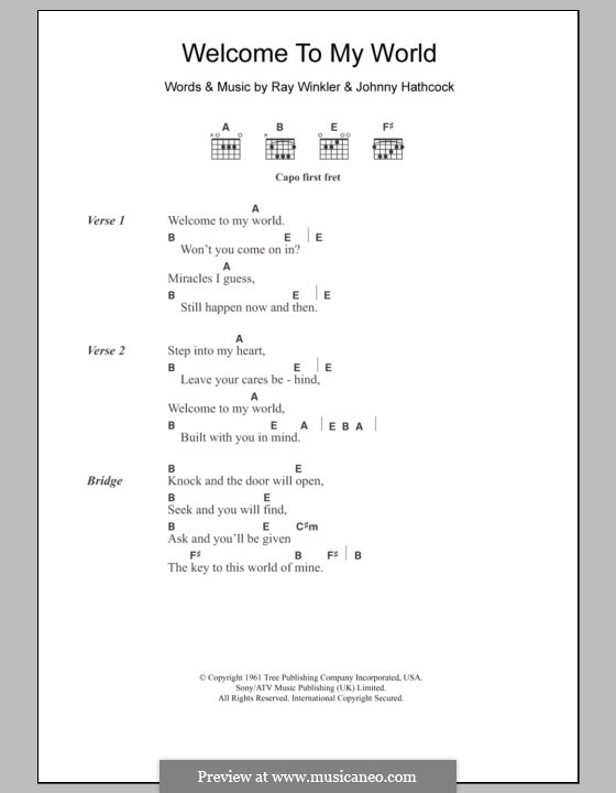 Welcome To My World (Jim Reeves): Lyrics and chords by Johnny Hathcock, Ray Winkler