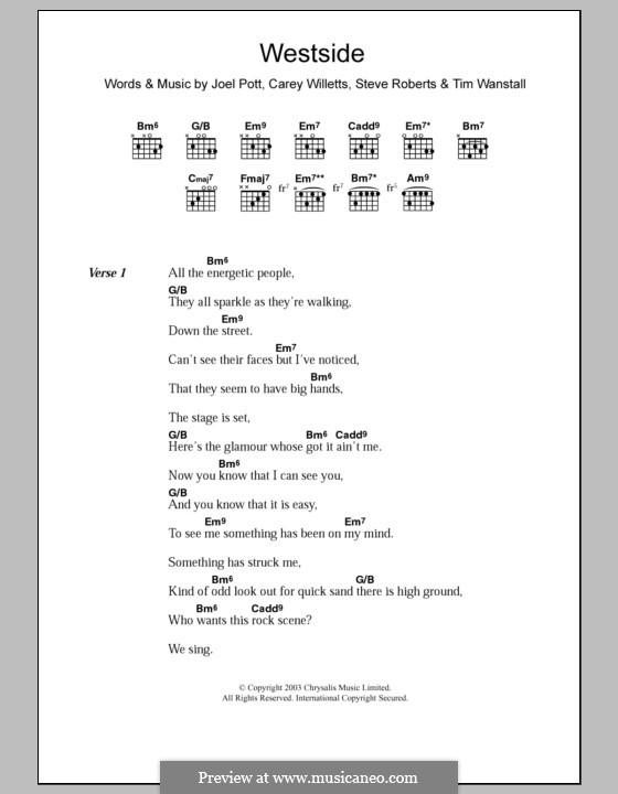 Westside (Athlete): Lyrics and chords by Carey Willetts, Joel Pott, Steven Roberts, Timothy Wanstall