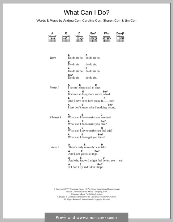 What Can I Do (The Corrs): Lyrics and chords by Andrea Corr, Caroline Corr, Jim Corr, Sharon Corr