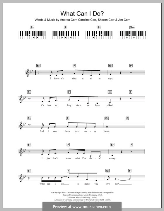 What Can I Do (The Corrs): For keyboard by Andrea Corr, Caroline Corr, Jim Corr, Sharon Corr