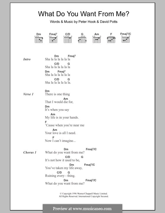 What Do You Want from Me? (Monaco): Lyrics and chords by David Potts, Peter Hook