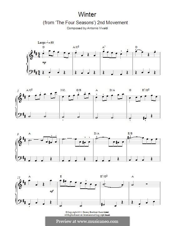 Violin Concerto No.4 in F Minor 'L'inverno', RV 297: Movement II. Version for easy piano by Antonio Vivaldi